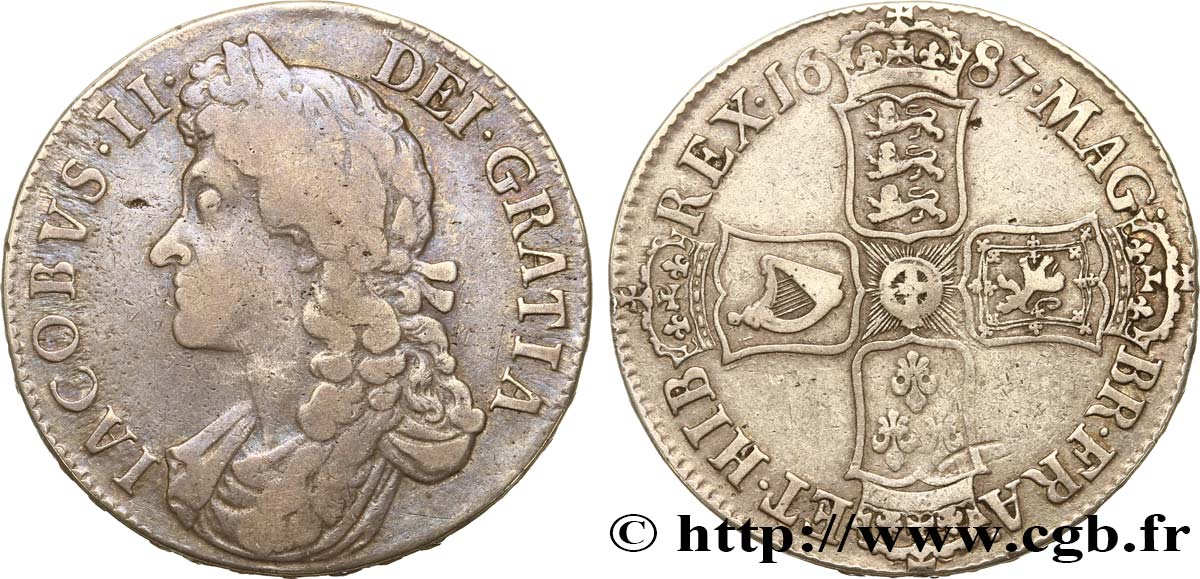 GREAT-BRITAIN - JAMES II Crown, 2e buste 1687 Londres VF