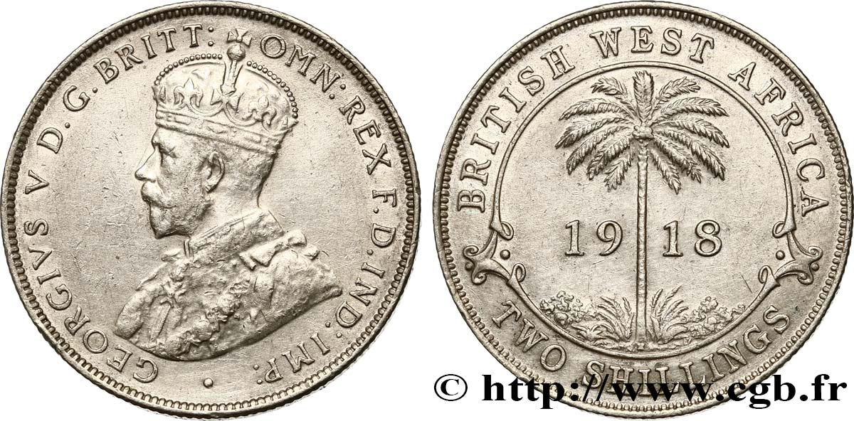 AFRIQUE OCCIDENTALE BRITANNIQUE 2 Shillings Georges V 1918 Heaton TTB+