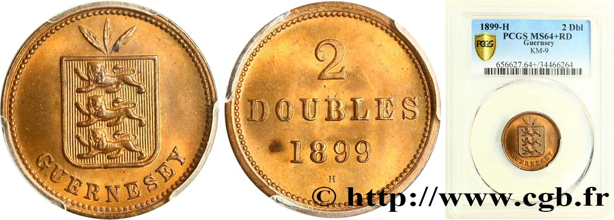 GUERNESEY 2 Doubles 1899 Heaton SPL64 PCGS