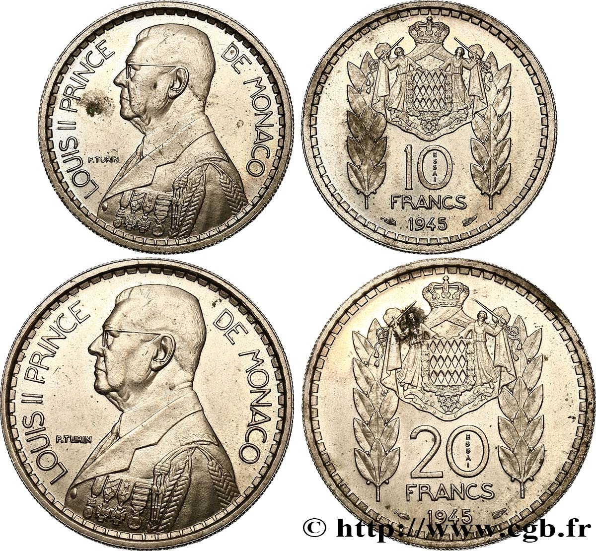 MONACO Lot d'essai 10 et 20 Francs Louis II 1945 Paris SPL
