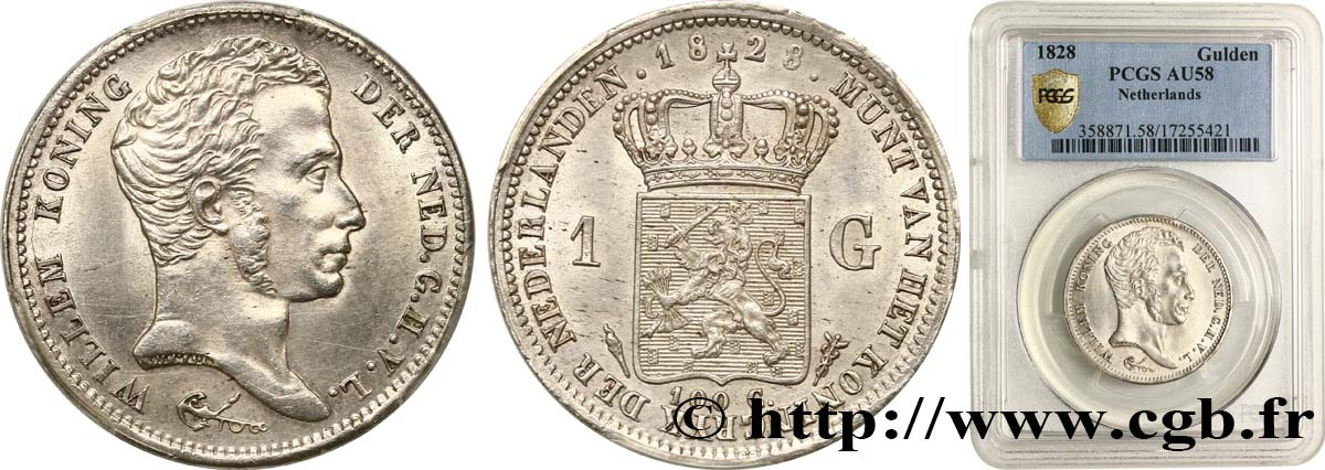 KINGDOM OF THE NETHERLANDS - WILLIAM I 1 Gulden 1828 Utrecht AU58 PCGS