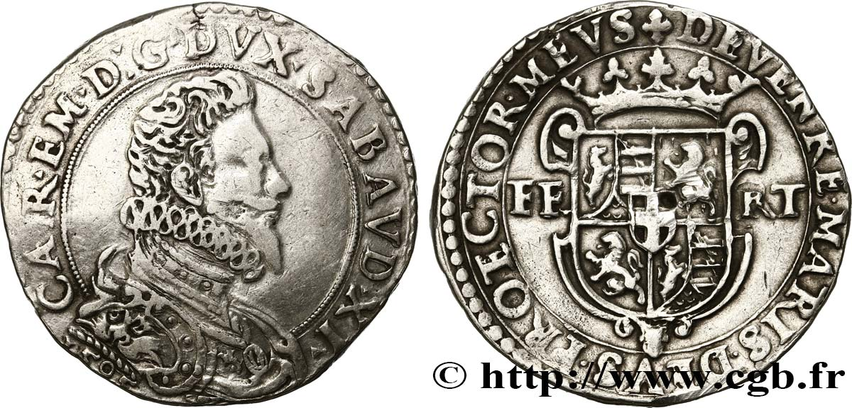 SAVOY - DUCHY OF SAVOY - CHARLES-EMMANUEL I Ducaton, Ve type 1595 Turin VF