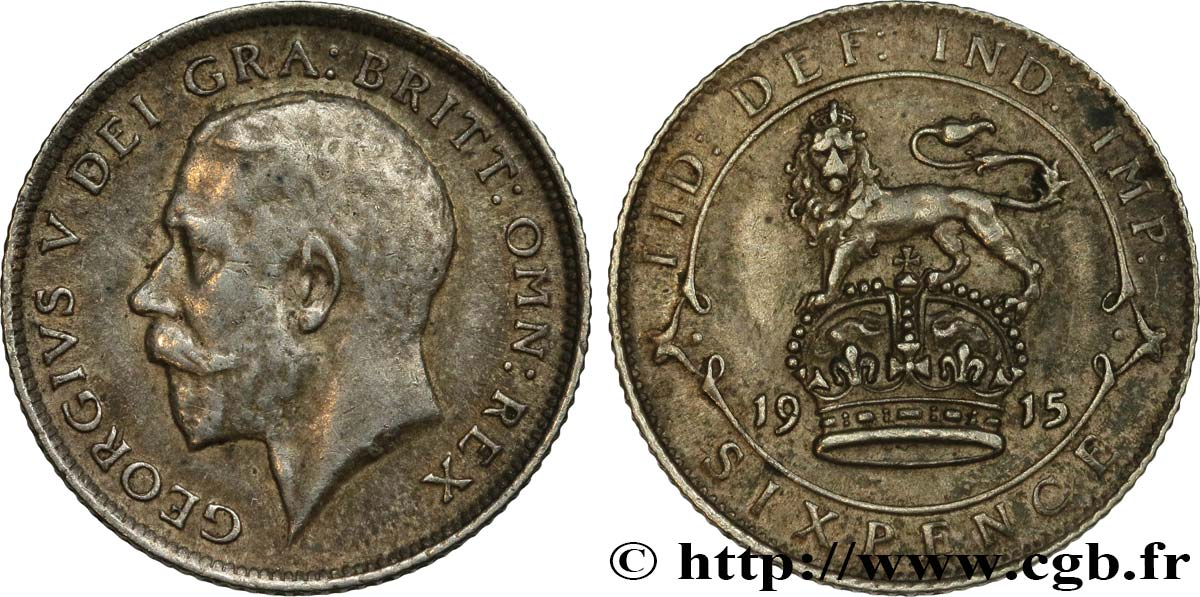 UNITED KINGDOM 6 Pence Georges V 1915  XF
