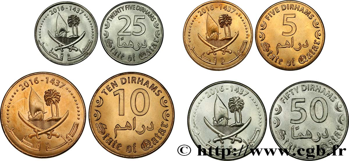 QATAR Lot 5, 10, 25 et 50 Dirhams AH 1437 2016  MS