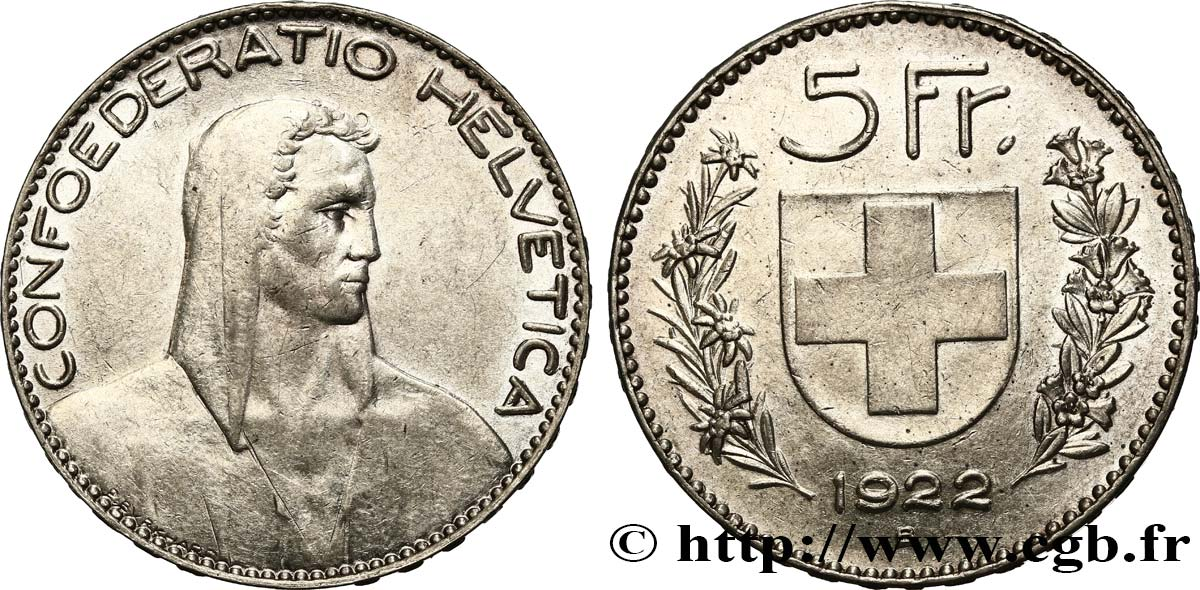 SWITZERLAND 5 Francs Berger 1922 Berne AU