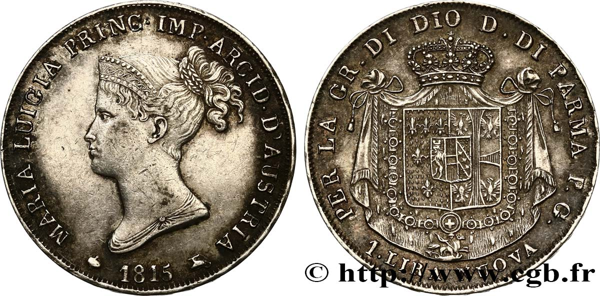 ITALY - PARMA AND PIACENZA 1 Lire Marie-Louise 1815 Milan XF/AU