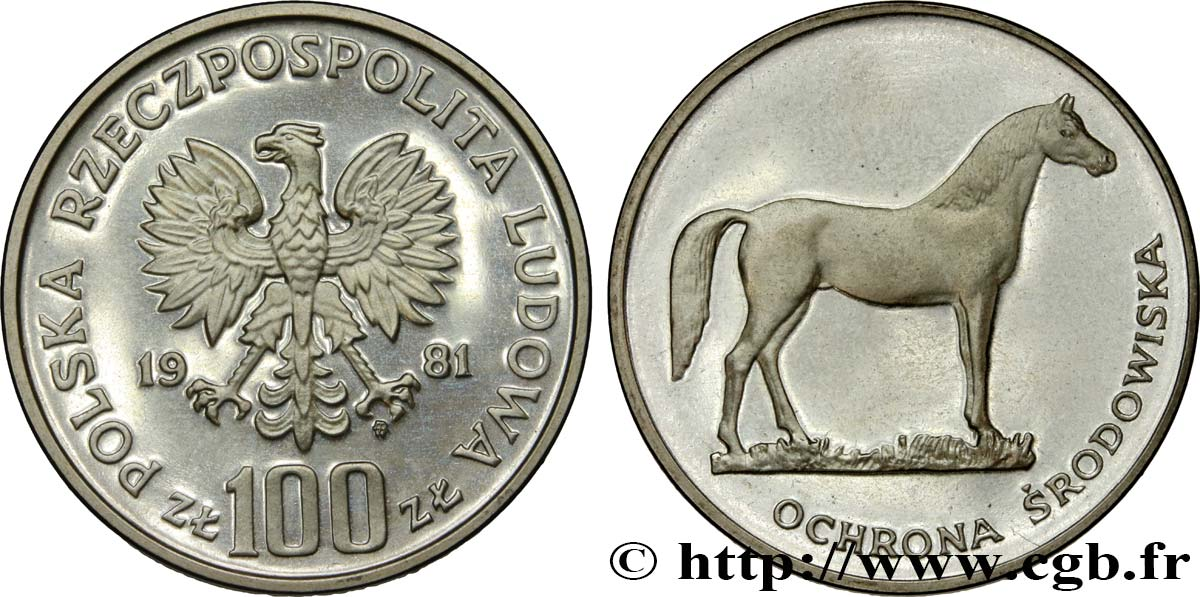 POLOGNE 100 Zlotych Proof cheval 1981 Varsovie SPL
