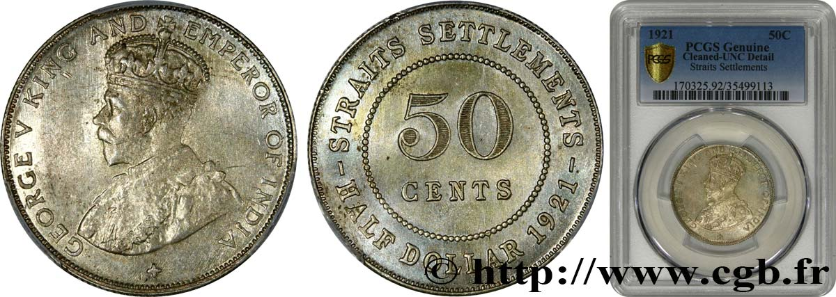 MALAYSIA - STRAITS SETTLEMENTS 50 Cents Georges V 1921  MS PCGS