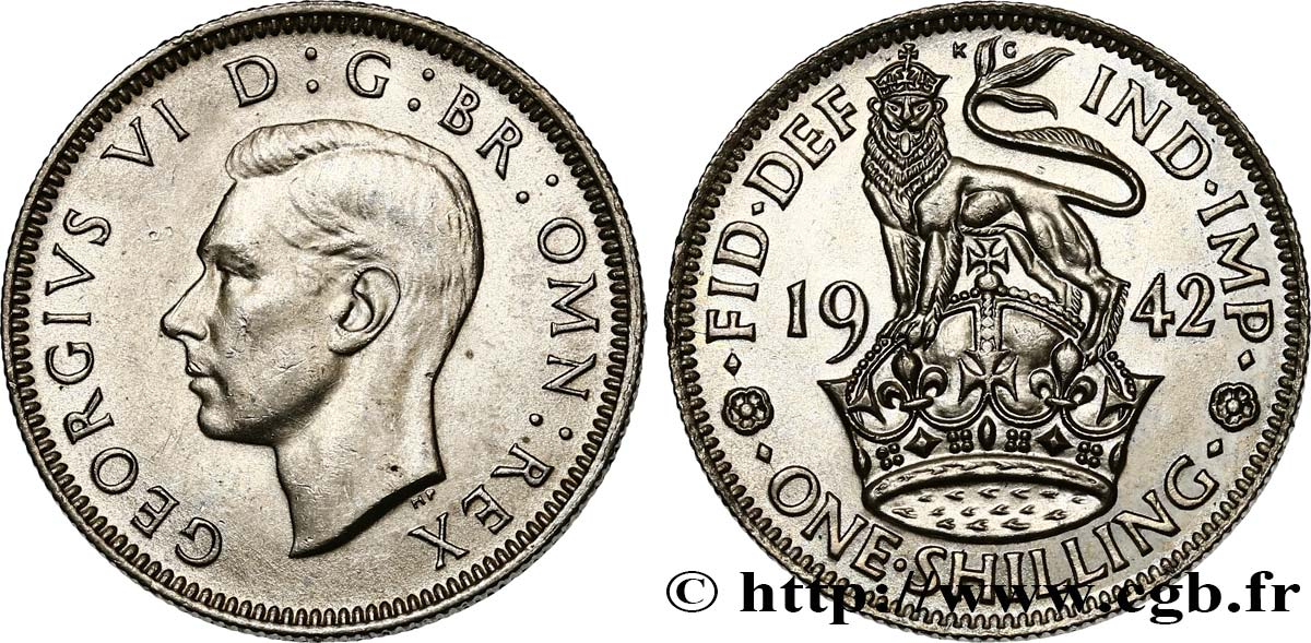"UNITED KINGDOM 1 Shilling Georges VI ""England reverse"" 1942  MS"
