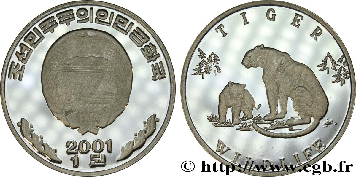 COREA DEL NORD Won Proof Tigre 2001  MS
