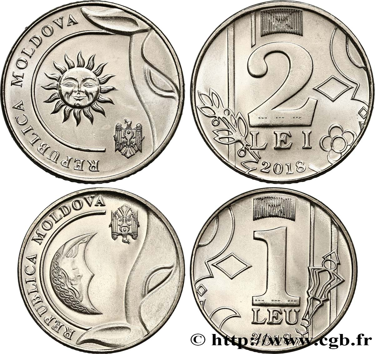 MOLDAVIE Lot 1 Leu et 2 Lei 2018  SPL