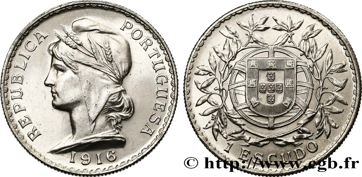 PORTUGAL 1 Escudo 1916  SUP