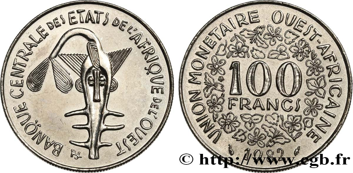 WEST AFRICAN STATES (BCEAO) 100 Francs BCEAO masque 1982 Paris AU