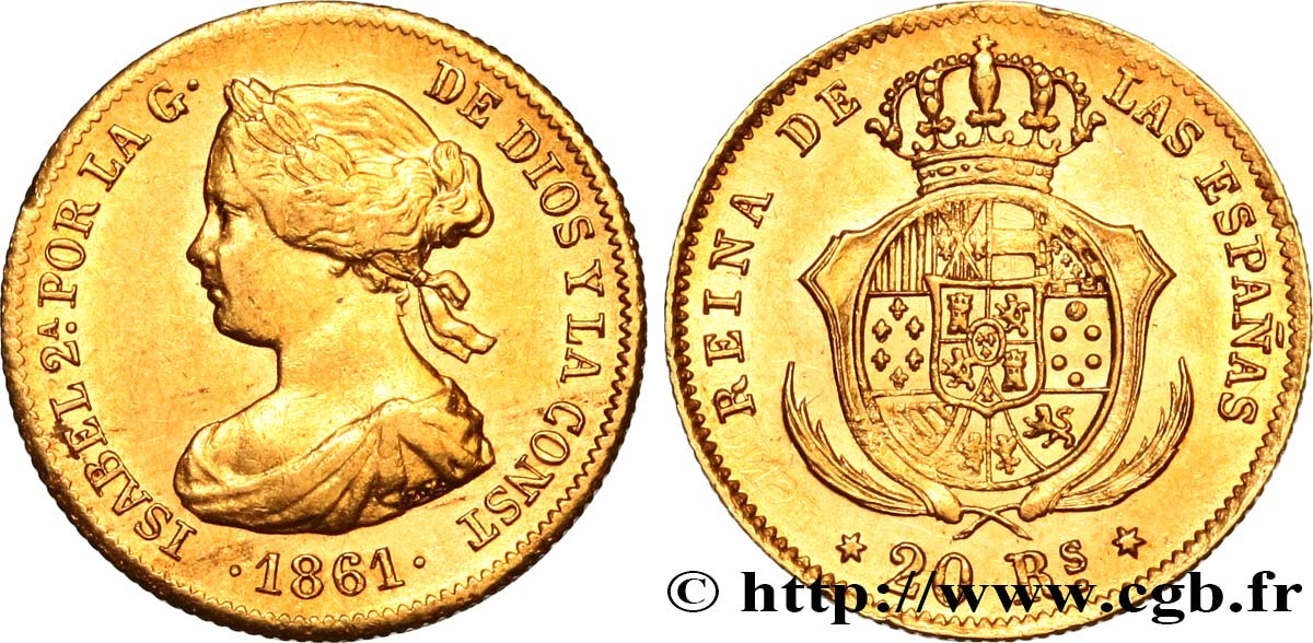 ESPAGNE - ROYAUME D ESPAGNE - ISABELLE II 20 Reales 1861 Madrid SPL