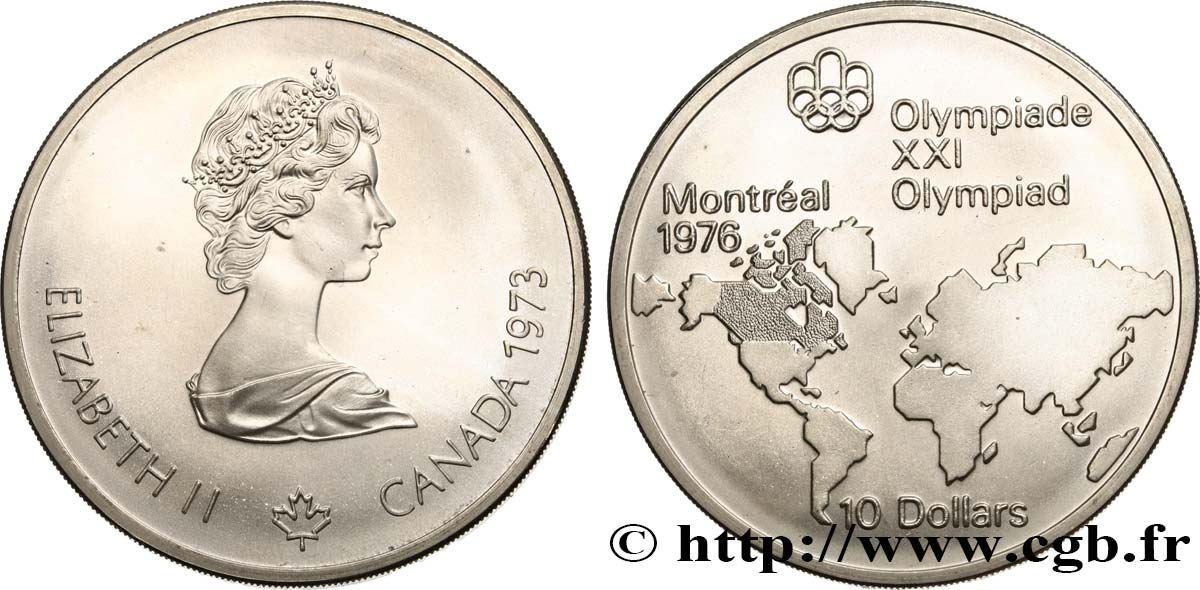Carte Du Canada Montreal.Canada 10 Dollars Jo Montreal 1976 Carte Du Monde 1973 Fwo 500812