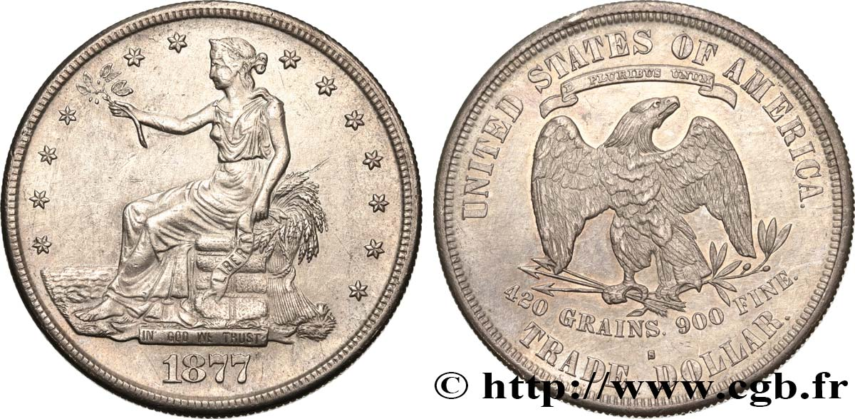 "ÉTATS-UNIS D AMÉRIQUE 1 Dollar type ""Trade Dollar"" 1877 San Francisco TTB+/SUP"