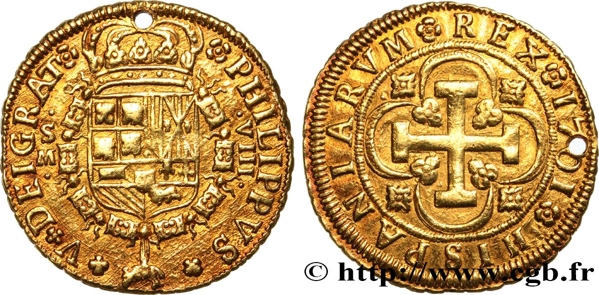 SPAIN - KINGDOM OF SPAIN - PHILIP V OF BOURBON 8 Escudos 1701 Séville XF