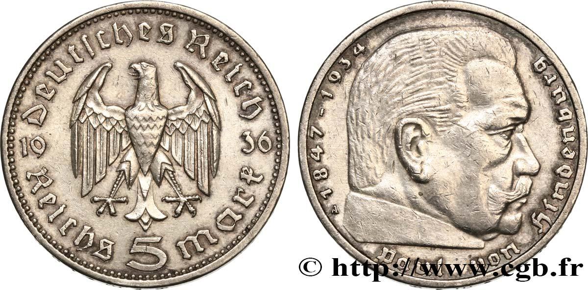 Deutschland 5 Reichsmark Maréchal Paul Von Hindenburg 1936 Berlin