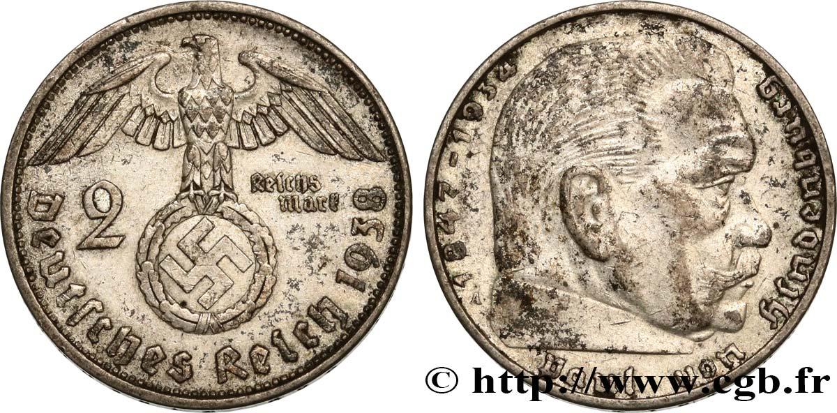 Deutschland 2 Reichsmark Aigle Surmontant Une Swastika Maréchal