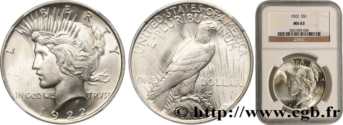 UNITED STATES OF AMERICA 1 Dollar Peace 1922 Philadelphie