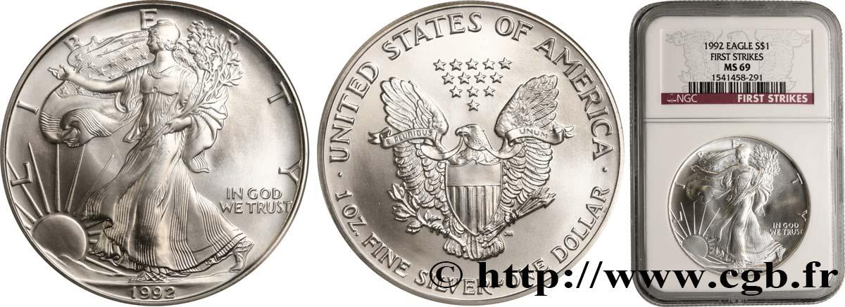 1992 American Silver Eagle Dollar MS69 NGC