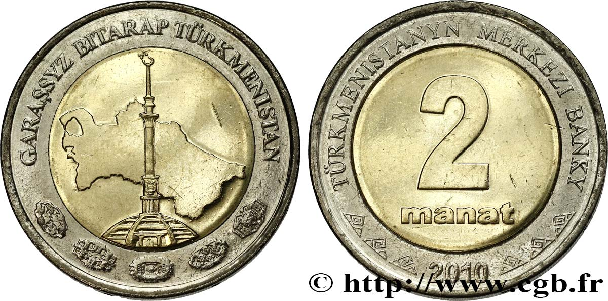 TURKMÉNISTAN 2 Manat 2010 British Royal Mint SPL
