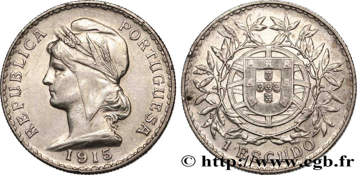 PORTUGAL 1 Escudo 1915  SUP