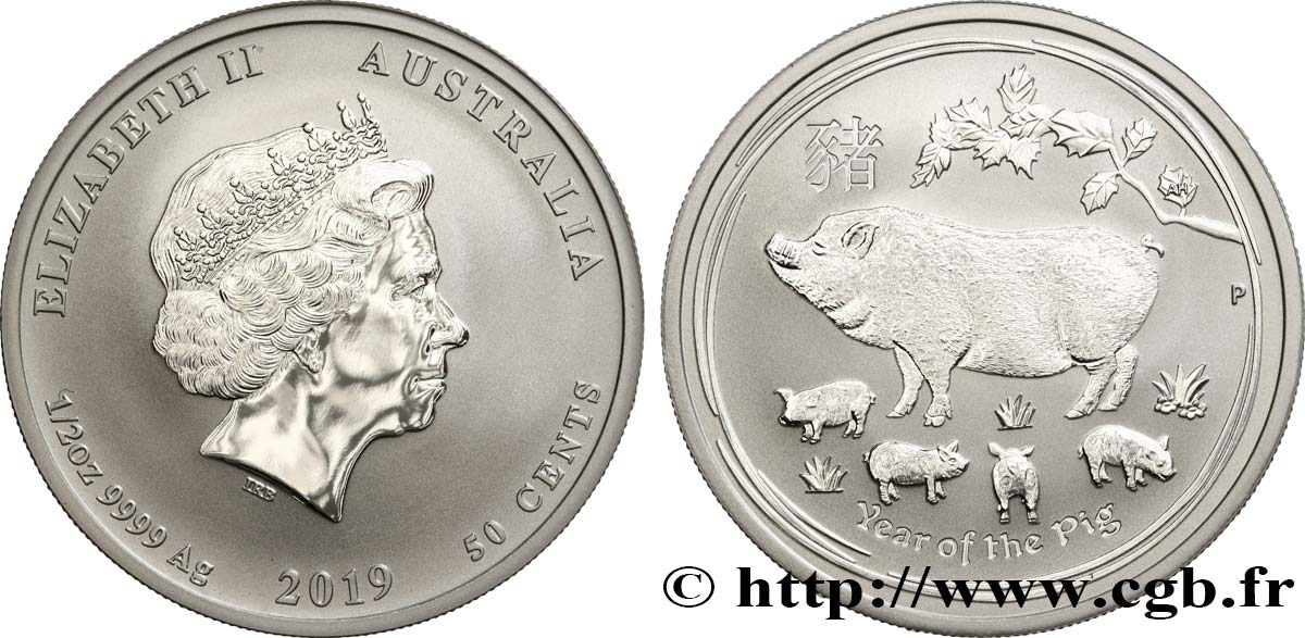 AUSTRALIE 50 Cents Proof année du cochon 2019 Perth FDC
