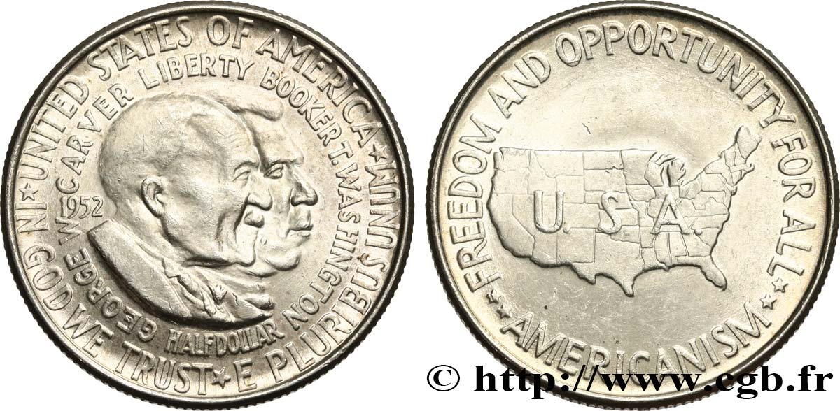 UNITED STATES OF AMERICA 1/2 Dollar George Carver et Brooker T. Washington 1952 Philadelphie MS