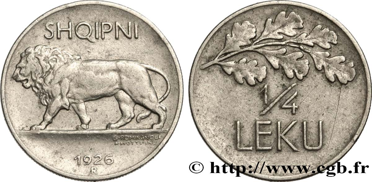 ALBANIA 1/4 Leku lion 1926 Rome - R fwo_533236 World coins