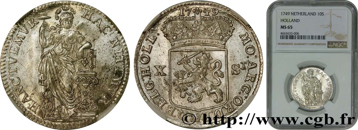 NETHERLANDS - UNITED PROVINCES 10 Stuivers Hollande 1749  MS65 NGC