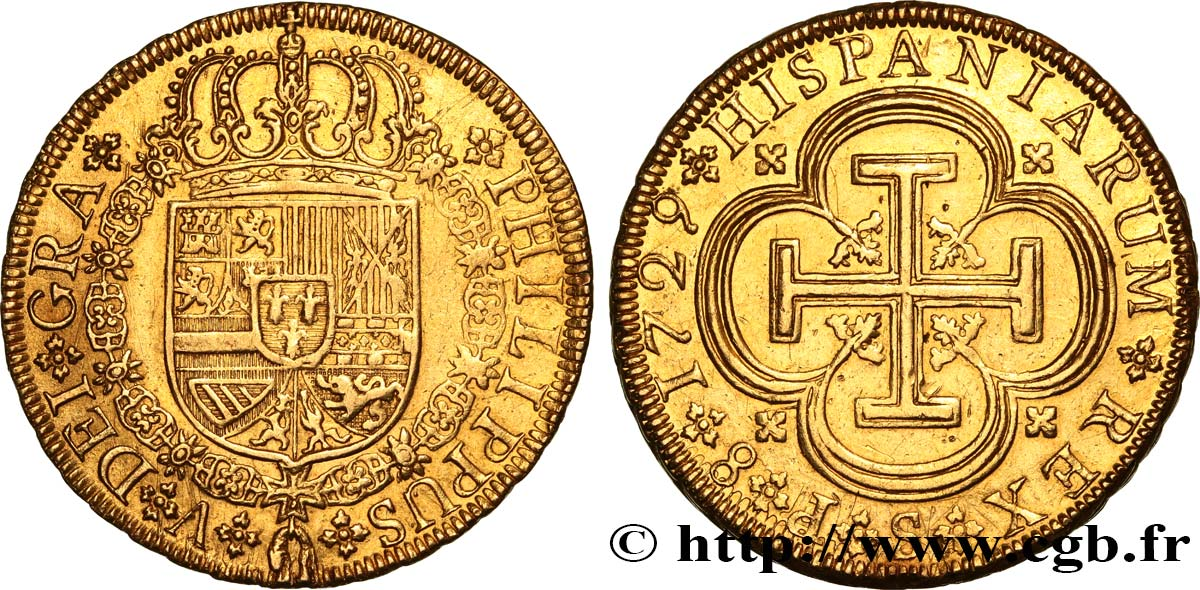 SPAIN - KINGDOM OF SPAIN - PHILIP V OF BOURBON 8 Escudos 1729 Séville AU