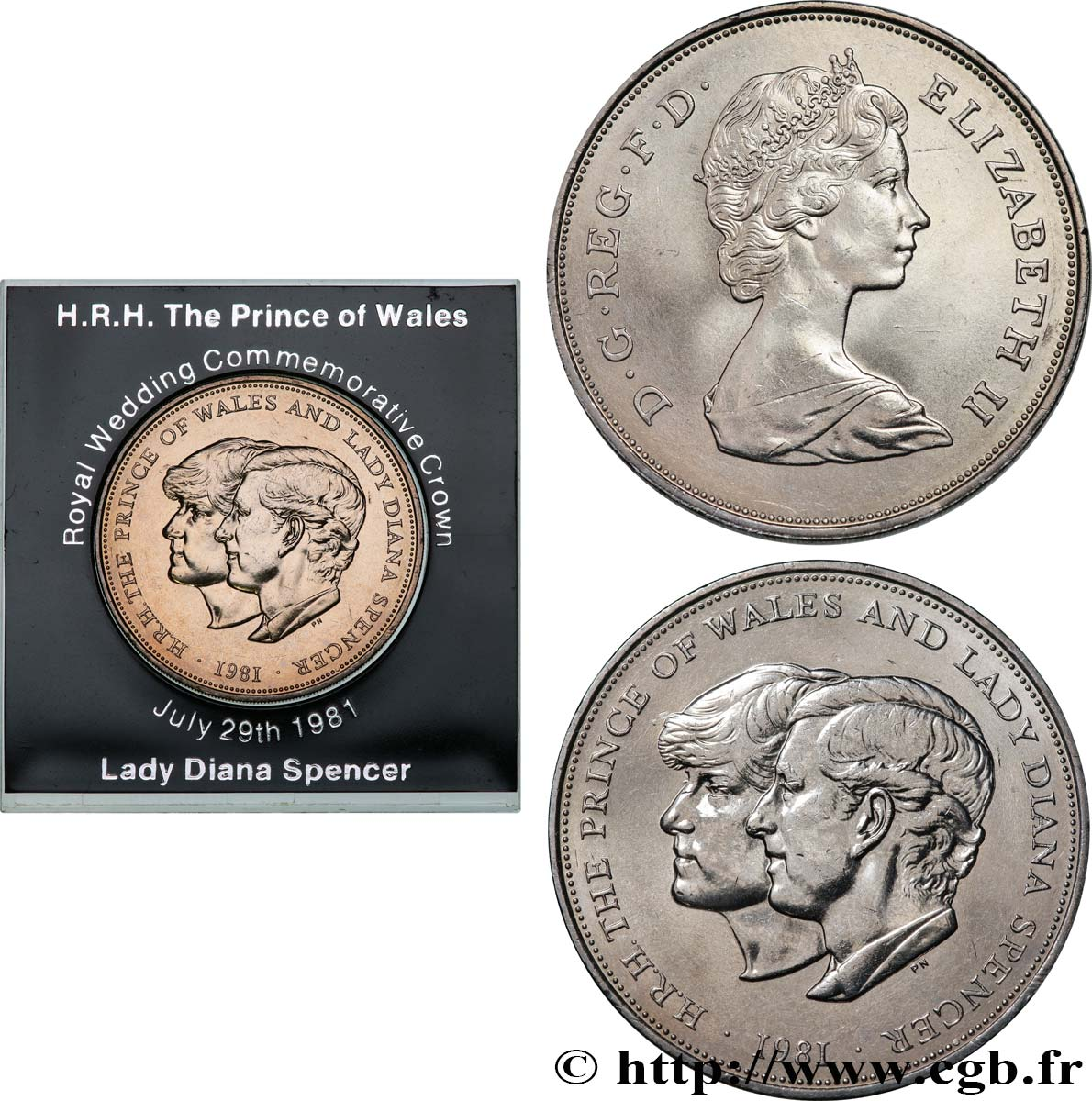 United Kingdom 25 New Pence 1 Crown Mariage Du Prince De Galles Et De Lady Diana Spencer 1981 Fwo 534403 World Coins