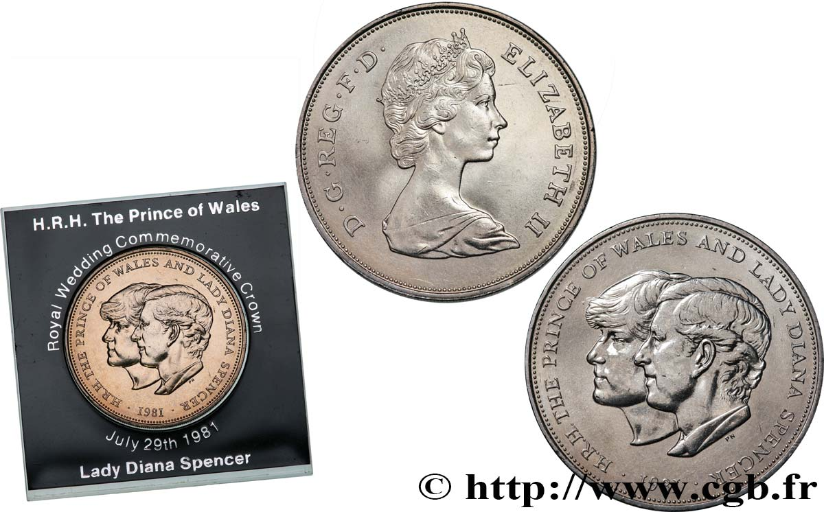 United Kingdom 25 New Pence 1 Crown Mariage Du Prince De Galles Et De Lady Diana Spencer 1981 Fwo 534402 World Coins