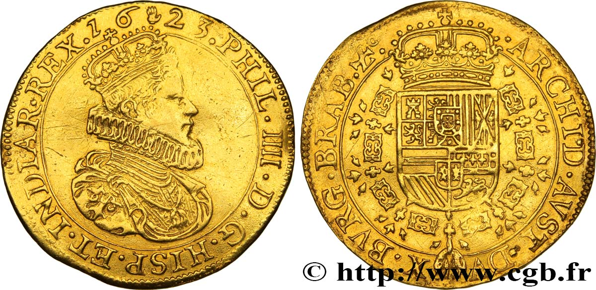 SPANISH NETHERLANDS - DUCHY OF BRABANT - PHILIP IV Double souverain d'or 1623 Anvers XF/AU