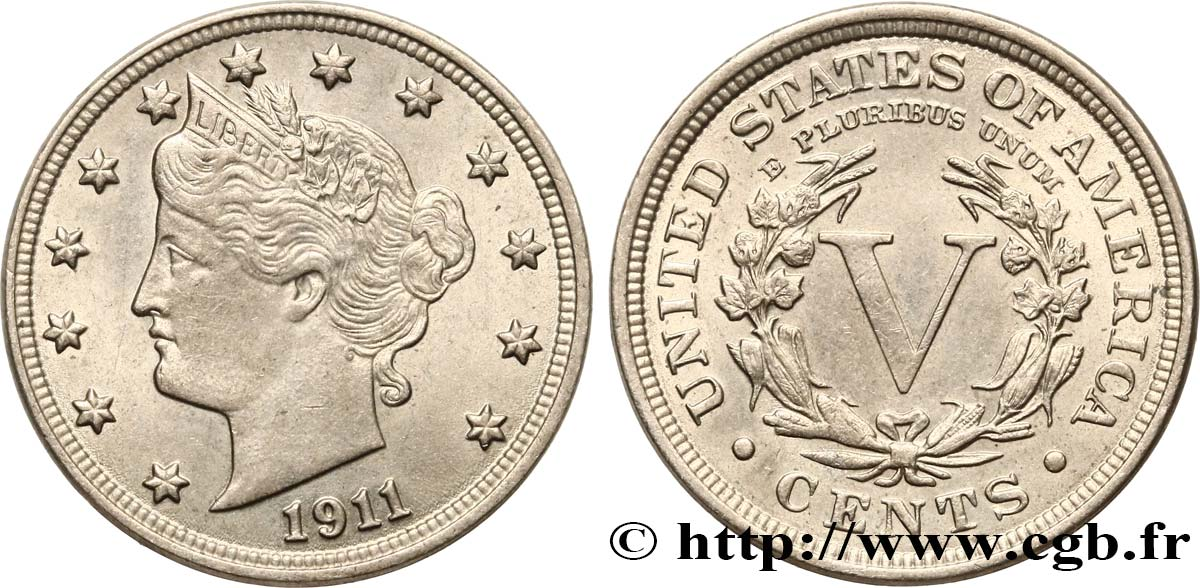 United States Of America 5 Cents Liberty Nickel 1911 Philadelphie