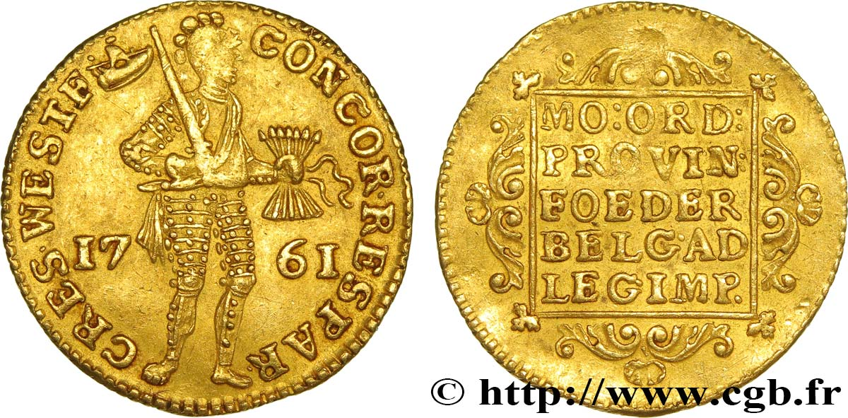 PAYS-BAS - PROVINCES-UNIES - FRISE OCCIDENTALE Ducat 1761  TTB+