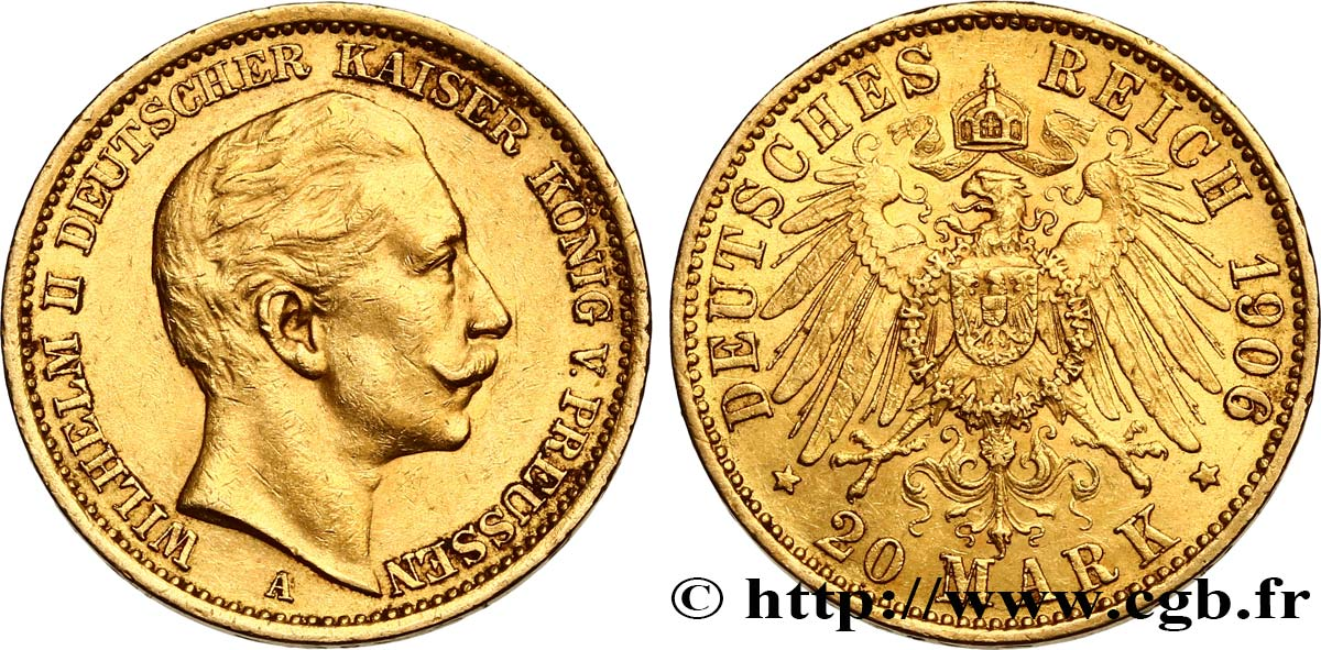 INVESTMENT GOLD 20 Mark Guillaume II 1906 Berlin fwo_538026