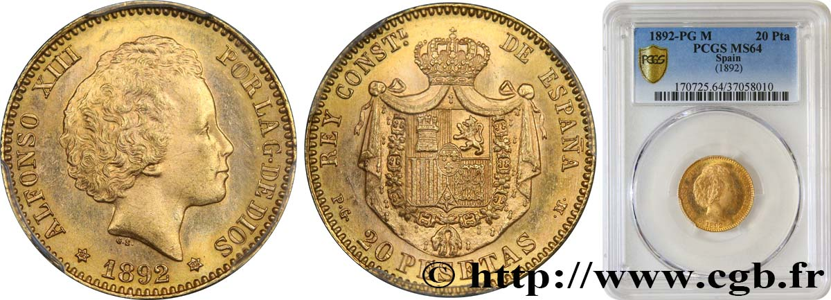 SPAIN - KINGDOM OF SPAIN - ALFONSO XIII 20 Pesetas 1892 Madrid MS64 PCGS