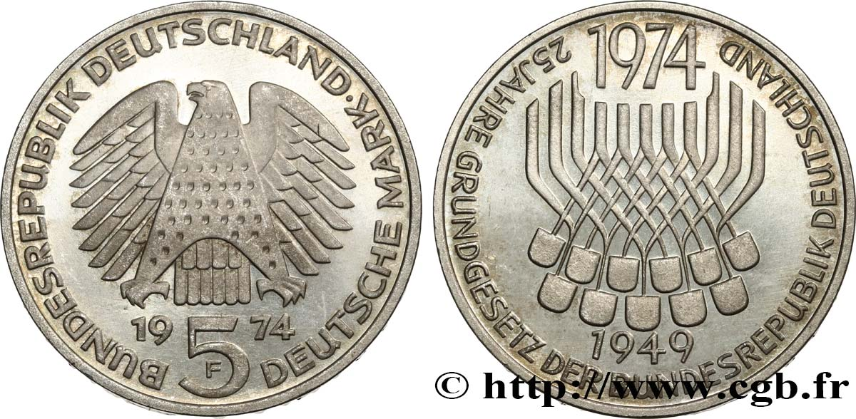 GERMANY 5 Mark Proof 25e anniversaire de la République Fédérale 1974 Stuttgart MS