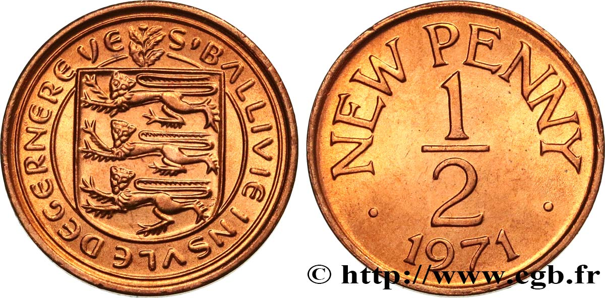 GUERNESEY 1/2 New Penny 1971  SPL