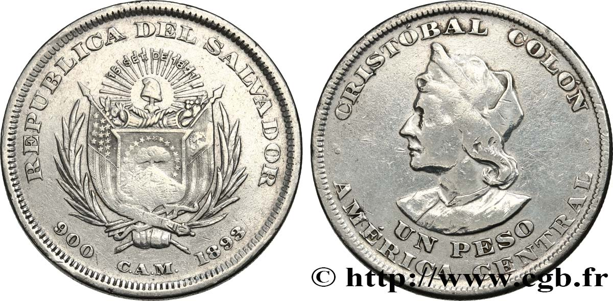 SALVADOR 1 Peso Christophe Colomb 1893  TB+