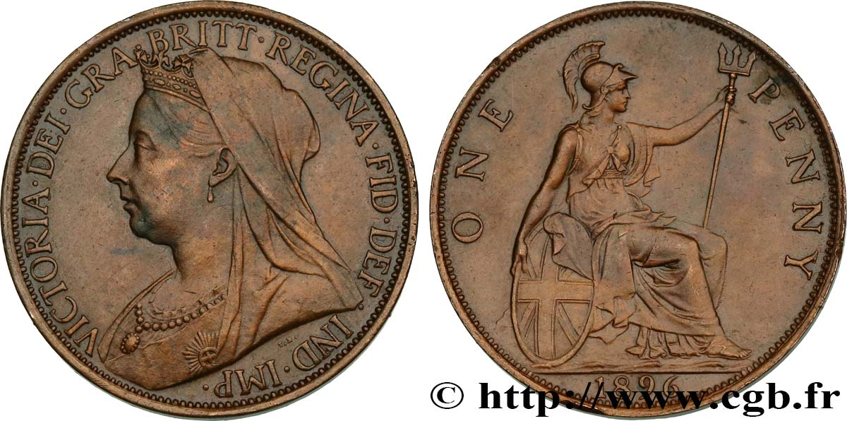 "ROYAUME-UNI 1 Penny Victoria ""old head"" 1896  TTB+"
