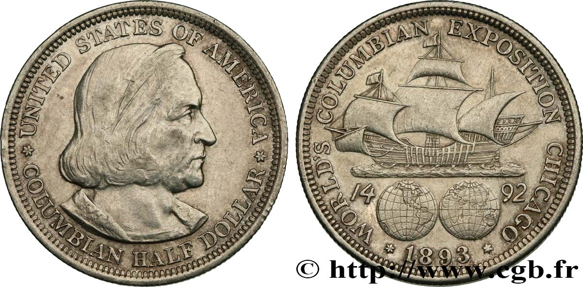 UNITED STATES OF AMERICA 1/2 Dollar Exposition Colombienne de Chicago 1893 Philadelphie AU
