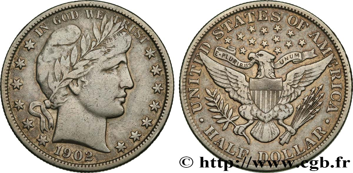 UNITED STATES OF AMERICA 1/2 Dollar Barber 1902 Philadelphie XF