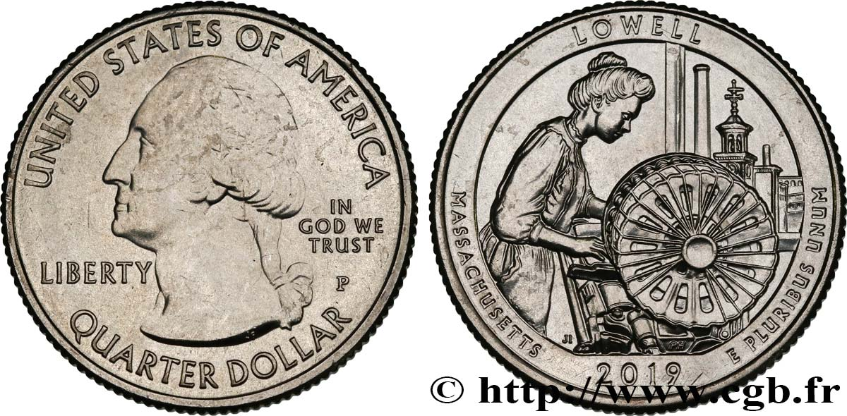 ÉTATS-UNIS D AMÉRIQUE 1/4 Dollar Lowell National Historical Park -Massachusetts 2019 Philadelphie SPL