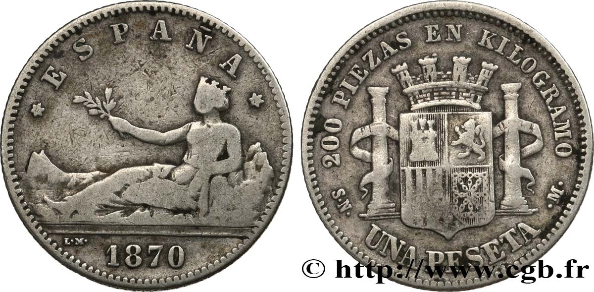 "SPAIN 1 Peseta ""ESPAÑA"" allongée 1870 Madrid VF"