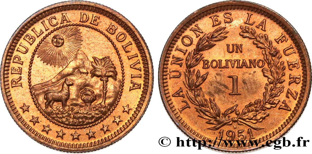 BOLIVIE 1 Boliviano 1951 Heaton SPL