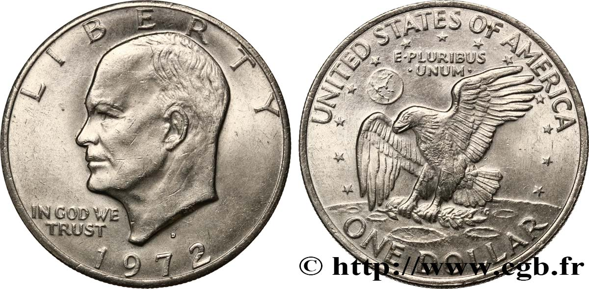 UNITED STATES OF AMERICA 1 Dollar Eisenhower 1972 Denver AU