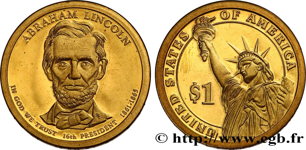 UNITED STATES OF AMERICA 1 Dollar Présidentiel Abraham Lincoln - Proof 2010 San Francisco MS